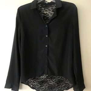 Button Up Lacey Medium Charolette Russe Shirt